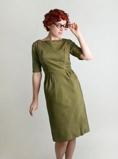 Vintage Wiggle Dress  Olive Green Mad Men Style 1950s by zwzzy, $75.00