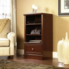 """Technology Pier - Cherry Finish by TDM. $129.98. Features Two adjustable shelves. Drawer with metal runners and safety stops features patented T-slot assembly system. Enclosed back panel has cord access. Select Cherry finish.     Dimensions W:21 7/8"""" (55.7cm) D:17 3/8"""" (44.0cm) H:42 1/4"""" (107.3cm). Comes ready to assemble. **Color may vary from pic. Please contact Target Decor and More for free color sample."""