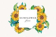 Watercolor Sunflower, Watercolor Flowers, Celtic Runes, Frame Wreath, Wedding Frames, Flower Frame, Botanical Prints, Watercolor Illustration, Printable Wall Art