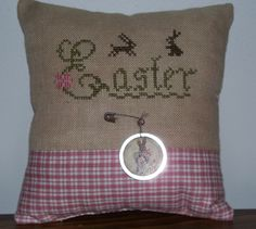 Cross stitched primitive Easter pillow