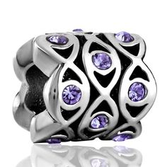 Valentines Day Gifts Pugster Amethyst Purple Bling Swarovski Crystal Flowers Charm Beads Fit Pandora Charm Jewelry $9.99 #topseller