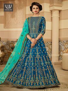 Rs8,500.00 Wedding Salwar Suits, Silk Anarkali Suits, Blue Lehenga, Silk Lehenga, Anarkali Dress, Lehenga Choli Designs, Lehenga Choli Online, Ghagra Choli, Bridal Lehenga Choli