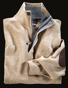Sportlicher Pullover aus feinster Merino-Kaschmir-Qualität mit Zipkragen von TOM RUSBORG - bei HIRMER