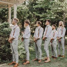 Groomsmen Suspenders, Groomsmen Grey, Groomsmen Outfits, Leather Suspenders, Bridesmaids And Groomsmen, Wedding Suspenders, Rustic Groomsmen Attire, Groomsmen Colours, Beach Wedding Groomsmen Attire