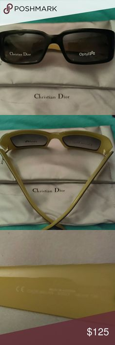 Christian Dior Optyl Sunglasses Made in Austria, Black with yellow squared sunglasses.  Can also be used with prescription.  Original soft case and sleeve.  Never worn. Christian Dior Accessories Sunglasses
