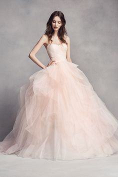 Style VW351322 Tulle ombré ball gown with sweetheart neckline, draped bodice, and tossed tulle skirt.