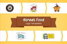 Street Food Logo Templates Collection   GraphicMama Free Web Fonts, File Organization, Delicious Burgers, Food Places, Logo Food, Logo Templates, Street Food, Design Bundles, How To Draw Hands