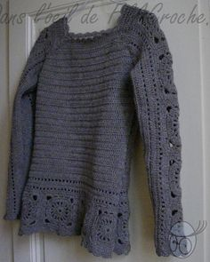 crochet pullover (free pattern in French)
