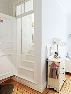 how awesome - a little room in a cupboard (up stairs!) with an even smaller little cupboard!! also love the floor x
