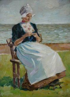 Dutch Girl Knitting by the Sea Christopher Dean (British, fl. 1895 – 1924)