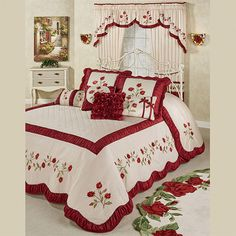 Dream like a sleeping beauty beneath the Briar Rose Floral Oversized Bedspread. Grande bedspread has a 24 drop and dark red and blush vining rose embroidery. Bed Cover Design, Bed Design, Bed Sheet Painting Design, Designer Bed Sheets, Royal Bedroom, Home Curtains, Luxury Bedding Collections, Curtain Designs, Beautiful Bedrooms