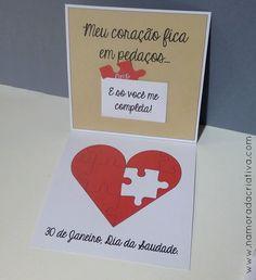 """DIY Dia da Saudade – Cartãozinho """"Só você me completa!"""""""