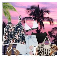 """""""Summer beach"""" by hxrrybae ❤ liked on Polyvore featuring Topshop, Rip Curl, Aéropostale, Volcom, Calvin Klein, Fendi, Summer, casual, outfit and beach"""