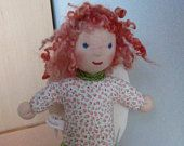 Guardian Angel doll,Angel's Doll, Birgit,Waldorf inspired doll with curly sheep's locks and felt wings.