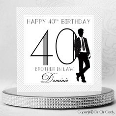 A stylish square birthday card featuring a Man, dressed in a black suit and holding a glass of champagne, leaning against his Age numbers. The numbers are in a retro style font and the retro theme continues with the zig zag style grey border. The man has 3 Swarovski crystals as buttons on his jacket and there are a further 3 crystals as the bubbles from the glass.  #BirthdayCard #MaleBirthday #Style #Retro #Birthday #PersonalisedCards #CardMaking #HandmadeCards #Cards #GreetingCards… Luxury Birthday Cards, 50th Birthday Cards, Happy 40th Birthday, Personalized Birthday Cards, Special Birthday, Handmade Birthday Cards, Man Birthday, Birthday Brother In Law, Retro Birthday