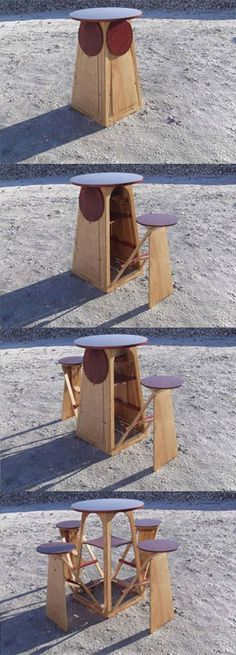 Table with 4 collapsable stools