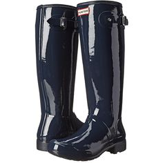 Hunter Original Tour Gloss Women's Rain Boots (€135) ❤ liked on Polyvore featuring shoes, boots, fold-over boots, white rain boots, wellies boots, waterproof rubber boots and white boots