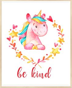 Be Kind Print Unicorn Wall Art Nursery by LeelaPrintableArt