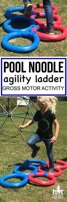 Diy pool noodle agility ladder gross motor activity- a fun backyard activit Relay Games For Kids, Sports Activities For Kids, Outdoor Games For Kids, Gross Motor Activities, Games For Toddlers, Kids Party Games, Diy Games, Children Activities, Party Activities