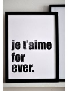 Sarah & Bendrix Poster Je t aime forever #quote #myhomeshopping