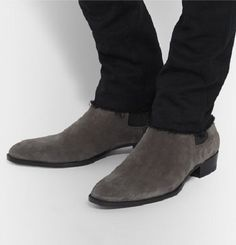 Details about Handmade mens gray Chelsea suede leather boots, Men ...