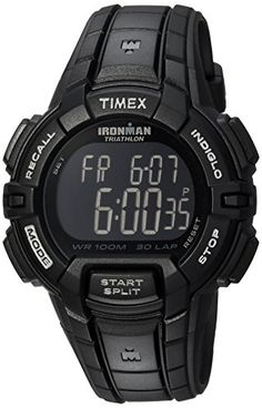 Timex Men's Ironman Rugged 30 Full-Size Blackout Resin Strap Watch – Watches for Boys Men's Watches, Rugged Watches, Timex Watches, Sport Watches, Cool Watches, Wrist Watches, Fashion Watches, Timex Ironman Triathlon, Luxury Watches For Men