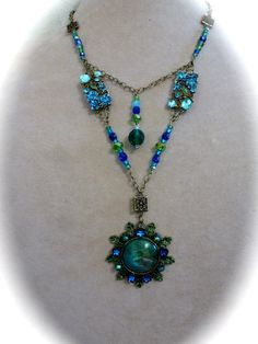 Neo Victorian 2 Layer Pendant Necklace in Blues and Greens $48 - pinned by pin4etsy.com