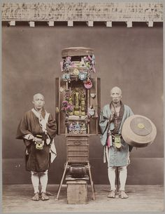 Buddhist pilgrims with a portable altar, ca. 1880s by attr. to Kusakabe Kimbei
