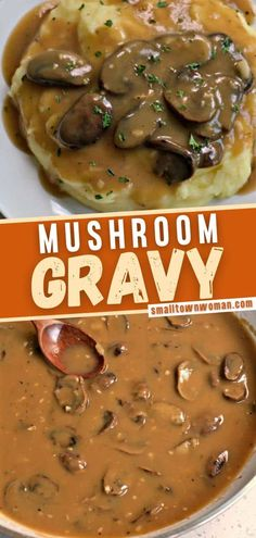 The best Mushroom Gravy for steak, meatloaf, pork chops, mashed potatoes, biscuits, or egg noodles! This wholesome homemade hearty gravy comes together with 6 ingredients in less than 30 minutes. Save this quick and easy recipe! Meatloaf Recipes, Beef Recipes, Cooking Recipes, Easy Family Meals, Quick Easy Meals, Family Recipes, Roasted Mushrooms, Stuffed Mushrooms