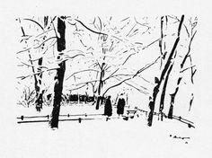 Пётр Васильевич Митурич (1887-1956гг). - Музей рисунка Hunters In The Snow, Soviet Art, Figure Sketching, Ink Master, Black And White Drawing, Urban Sketchers, Winter Art, Russian Art, Old Art