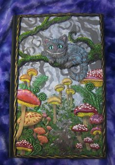 Polymer Clay Alice in Wonderland inspired covered Journal by Laurie Grassel