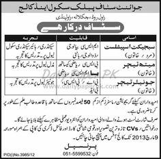 Teaching Staff Jobs In Joint Staff Public School & College Rawalpindi  http://www.dailypaperpk.com/jobs/182534/jobs-joint-staff-public-school-college-rawalpindi