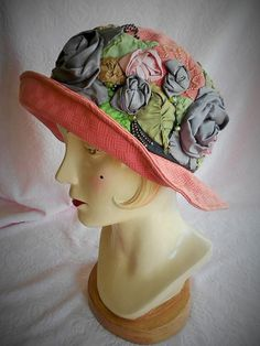 ESSERINI CLOCHE HAT Millinery Ribbonwork Rose by pinkchicboutique, $159.99