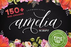 Amelia Script - Fine version by Blessed Print on @creativemarket