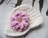 Baby Girl's 12-18 months Crocheted Wool Blend Newsboy Hat with Flower, SerendipiteeCrochet, Etsy