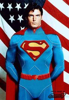 Christopher Reeve in New 52's Superman outfit.