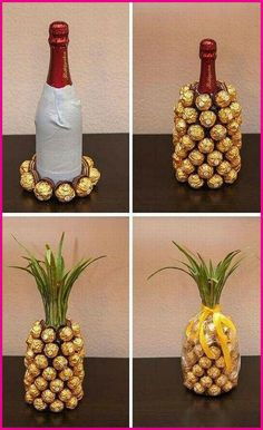house warming gift idea: wine chocolate pineapple