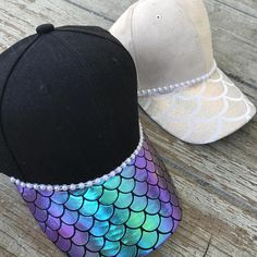 Adult size SnapBack adjustable to fit most sizes. Mermaid scales added to the visor only with plastic pearl trims. Made to order. For any changes contact shop.
