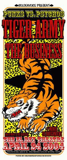 Original silkscreen concert poster for Tiger Army and The Business at The El Rey Theatre in Los Angeles, CA in 2004. 11 x 25 inches. Artwork by Mike Fisher