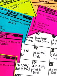 Prefix Task Cards - Teach students to use suffixes as a clue to the meaning of a word with this engaging hands-on resource. This bundle includes 5 days of mini lessons, an anchor chart, puzzles, partner games, interactive notebook page, task cards, craft, and a quick assessment. This is a complete hands-on mini unit that will add fun and excitement to your classroom. This unit focuses on the following standard: L.1.4.b – Use frequently occurring affixes as a clue to the meaning of a word.