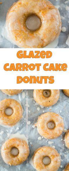 Glazed Carrot Cake Donuts taste just like cake! Recipe uses shredded fresh carrots, perfect for garden season.  Recipe make 1 dozen donuts.