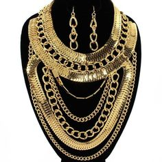 HUGE Egyptian Queen Cleopatra Layered Metal Chains Necklace & Earrings Set Gold Designer Celebrity #fashion #statement #jewelry