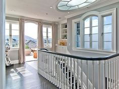 Love the skylight, staircase and color on the walls.