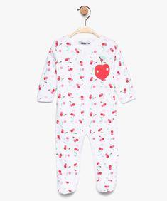 1225004d589b6 Pyjama bébé fille en jersey de coton motif cerise Blanc