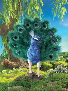 XL New Peacock Bird Hand Puppet Top Quality Folkmanis 18 inch Educational Toy #Folkmanis