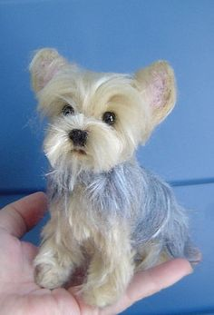 Yorkshire Terrier custom pet Portrait needle felted dog sculpture