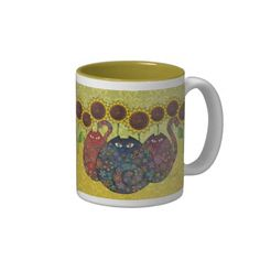 cats with sunflowers mug