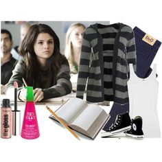 Another Cinderella Story (Selena Gomez) by dressedtokill on Polyvore featuring polyvore, fashion, style, Wet Seal, Splendid, D&G, Benefit, Bed Head by TIGI and Converse