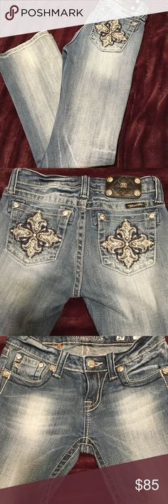 db5db7ffc0 Miss Me boot cut girls size 14 can also fit juniors. Waist approximately 25  length Lots of bling on these no freying on the hem. Miss Me Jeans ...