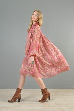 Blouson Sleeved 1970s Indian Silk Ascot Dress   BUSTOWN MODERN #shopbird15 #SS14